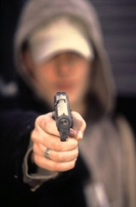 handgun in focus